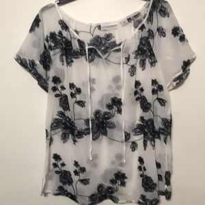 Sag Harbor Semi Sheer Top Navy Embroidered Flowers
